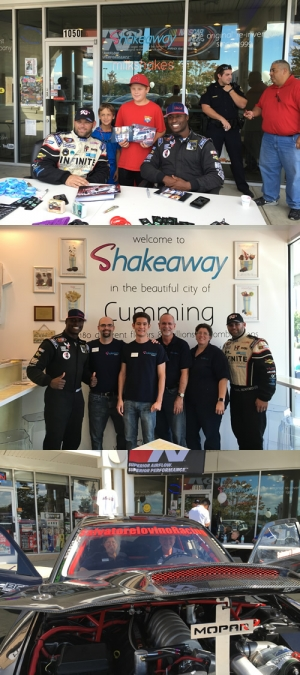 NASCAR drivers, Salvatore Iovino and Jesse Iwuji signing autographs at Shakeaway Georgia!